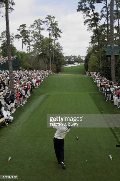 Augusta, UNITED STATES: Fred Couplesof the US tees off on the 18th hole 09 April 2006, during the rain delayed third round of the 2006 Masters at...