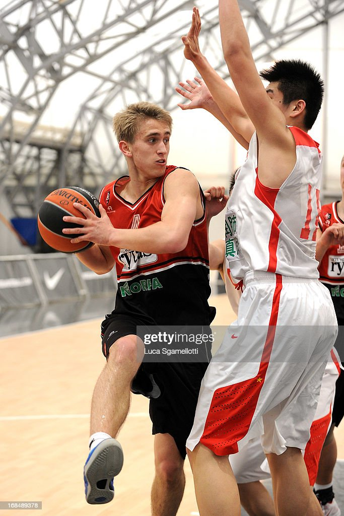 Augustas Suliauskas, #5 of Lietuvos Rytas Vilnius in action during the Nike International Junior Tournament game between Lietuvos Rytas Vilnius v Team China at London Soccerdome on May 10, 2013 in London, United Kingdom.