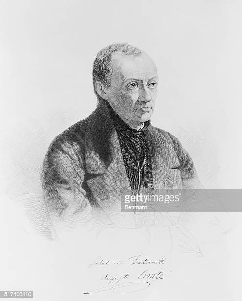Auguste Comte French mathematician and philosopher Undated etching of Comte captioned Salut et Fraternite Auguste Comte
