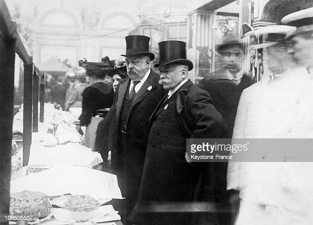 Auguste Escoffier Chef Of Carlton Visiting A Culinary Exhibition In Westminster In England Around 1899