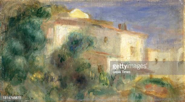 Auguste Renoir, , French, 1841 - 1919, Maison de la Poste, Cagnes, 1906/1907, oil on canvas, overall : 13 x 22.5 cm , framed: 30.2 x 39.4 x 5.7 cm .