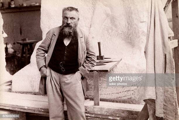 Auguste Rodin French sculptor born in Paris Posing in front of his sculpture 'Monument a Sarmiento' On July 22 1898