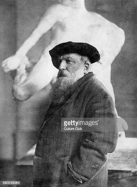Auguste Rodin portraitwith one of his sculptures behind him French sculptor 18401917 postcard