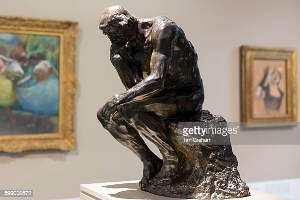Auguste Rodin THE THINKER famous 1880 bronze sculpture in French Gallery at Ordrupgaard Museum of Art near Copenhagen Denmark