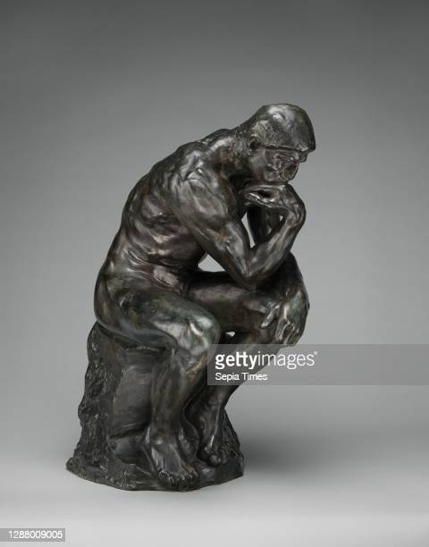 Auguste Rodin, The Thinker, French, Auguste Rodin , modeled ca. 1880, cast ca. 1910, French, Bronze, Overall : 27 5/8 in., 185 lb. , Sculpture-Bronze.