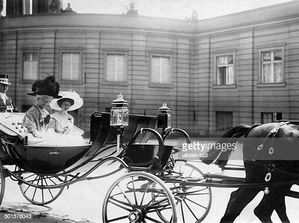 Auguste Viktoria German Empress Queen of Prussia Returning from a parade with Princess Victoria Louise of Prussia Photographer Haeckel