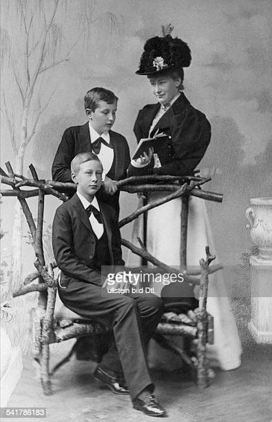 Auguste Viktoria German Empress Queen of Prussia*22101858 together with her sons Prince Friedrich Wilhelm Victor August Ernst and Prince Wilhelm...