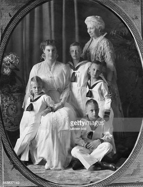 Auguste Viktoria - German Empress, Queen of Prussia*22.10.1858-+- with Crown Princess Cecilie and Princes William, Louis Ferdinand, Friedrich and...