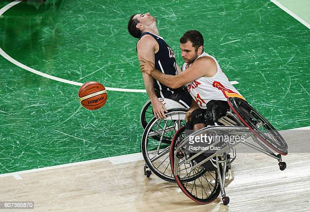 Augustin Alejos of Spain competes during the Mens Wheelchair Basketball gold medal match between United States and Spain at Rio Olympic Arena on day...