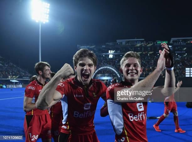 Augustin Meurmans and Victor Wegnez of Belgium celebrate during the FIH Men's Hockey World Cup Final between Belgium and the Netherlands at Kalinga...