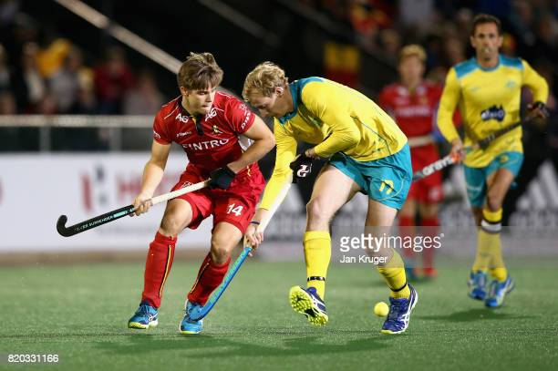 Augustin Meurmans of Belgium and Aran Zalewski of Australia battle for possession during the semifinal match between Australia and Belgium on Day 7...
