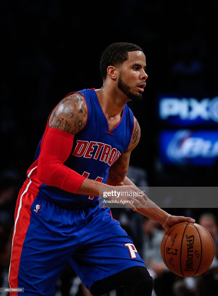 D.J. Augustin of Detroit Pistons in action during NBA basketball game between Brooklyn Nets and Detroit Pistons at the Barclays Center in the Brooklyn Borough of New York City, on December 21, 2014.