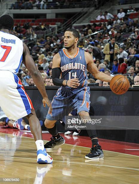 J Augustin of the Charlotte Bobcats drives to the basket during a game against the Detroit Pistons on November 5 2010 at The Palace of Auburn Hills...