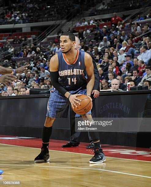 J Augustin of the Charlotte Bobcats handles the ball during a game against the Detroit Pistons on November 5 2010 at The Palace of Auburn Hills in...