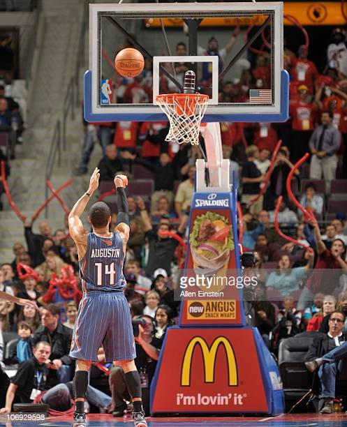 J Augustin of the Charlotte Bobcats shoots a free throw during a game against the Detroit Pistons on November 5 2010 at The Palace of Auburn Hills in...