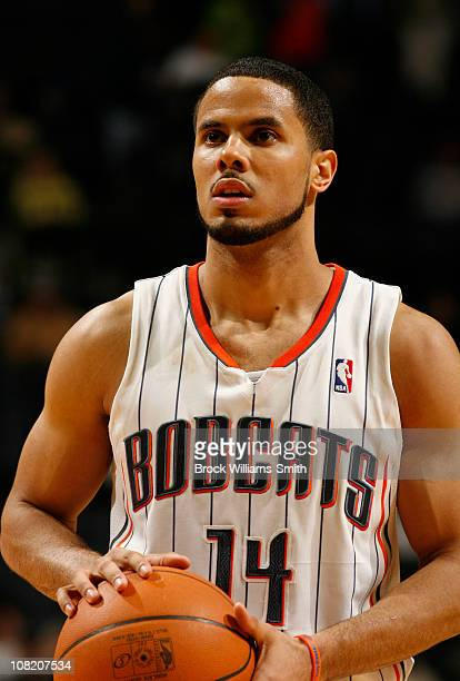 J Augustin of the Charlotte Bobcats shoots clutch free throws against the Philadelphia 76ers on January 20 2011 at Time Warner Cable Arena in...