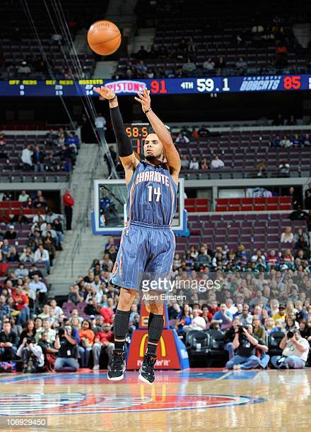 J Augustin of the Charlotte Bobcats shoots the ball during a game against the Detroit Pistons on November 5 2010 at The Palace of Auburn Hills in...