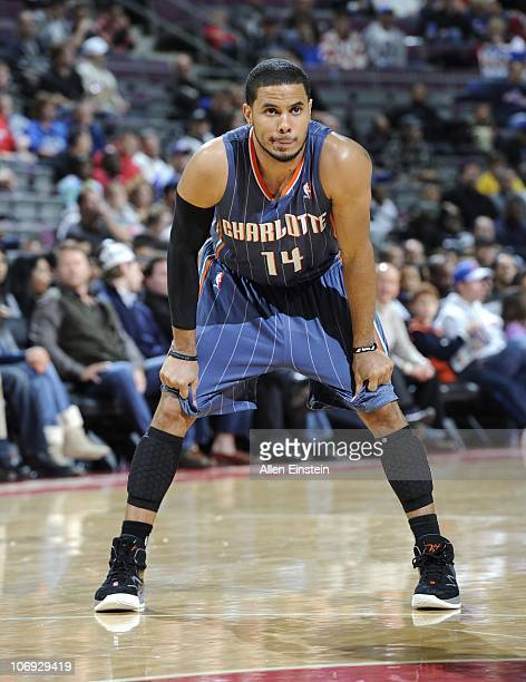 J Augustin of the Charlotte Bobcats stands on the court during a game against the Detroit Pistons on November 5 2010 at The Palace of Auburn Hills in...