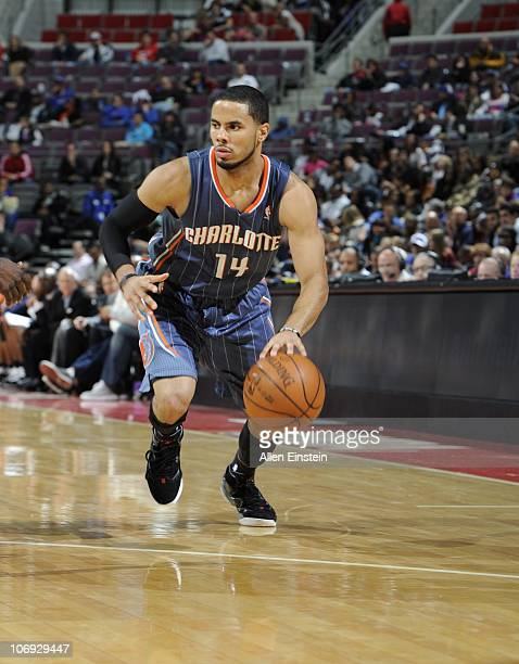 J Augustin of the Charlotte Bobcats walks on the court during a game against the Detroit Pistons on November 5 2010 at The Palace of Auburn Hills in...
