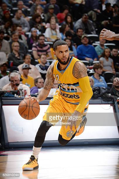 J Augustin of the Denver Nuggets drives to the basket against the Utah Jazz during the game on April 10 2016 at Pepsi Center in Denver Colorado NOTE...