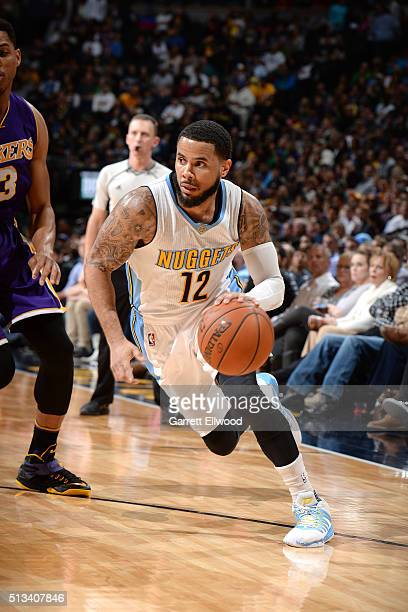 J Augustin of the Denver Nuggets drives to the basket during the game against the Los Angeles Lakers on March 2 2016 at the Pepsi Center in Denver...