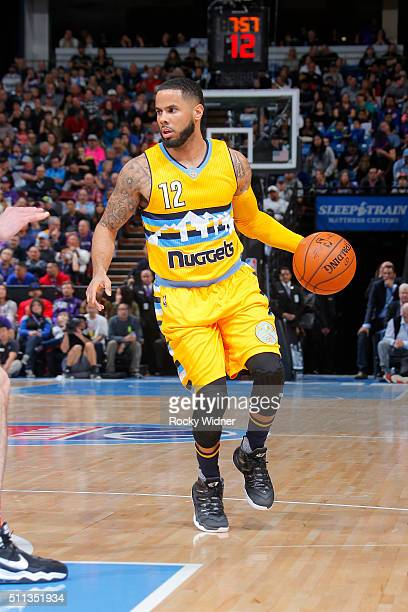 J Augustin of the Denver Nuggets handles the ball during the game against the Sacramento Kings on February 19 2016 at Sleep Train Arena in Sacramento...