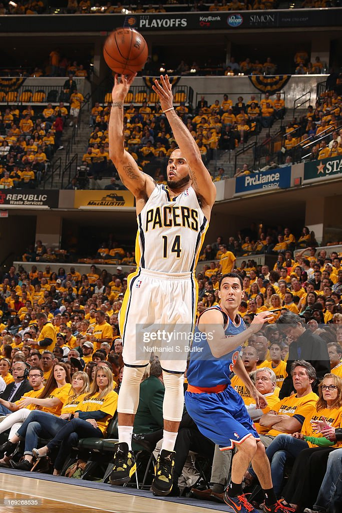 D.J. Augustin #14 of the Indiana Pacers shoots the ball against the New York Knicks in Game Three of the Eastern Conference Semifinals during the 2013 NBA Playoffs on May 11, 2013 at the Bankers Life Fieldhouse in Indianapolis.