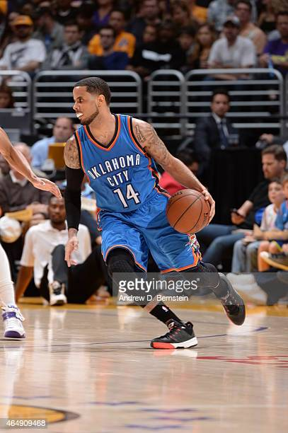 J Augustin of the Oklahoma City Thunder brings the ball up court against the Los Angeles Lakers on March 1 2015 at Staples Center in Los Angeles...