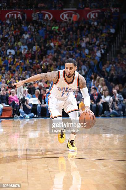 J Augustin of the Oklahoma City Thunder handles the ball against the Houston Rockets on January 29 2016 at Chesapeake Energy Arena in Oklahoma City...