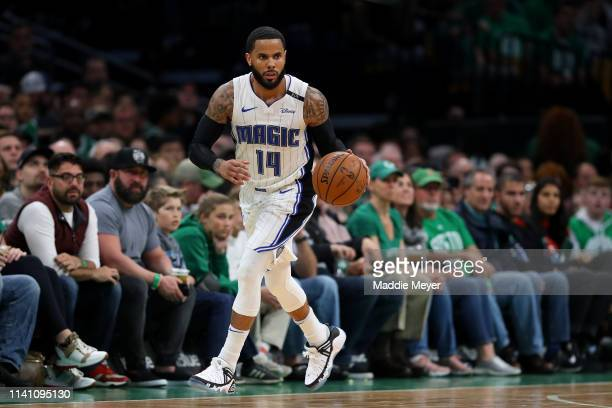 J Augustin of the Orlando Magic dribbles against the Boston Celtics during the second quarter at TD Garden on April 07 2019 in Boston Massachusetts...