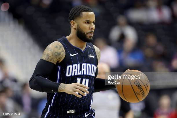 J Augustin of the Orlando Magic dribbles the ball against the Washington Wizards in the first half at Capital One Arena on March 13 2019 in...
