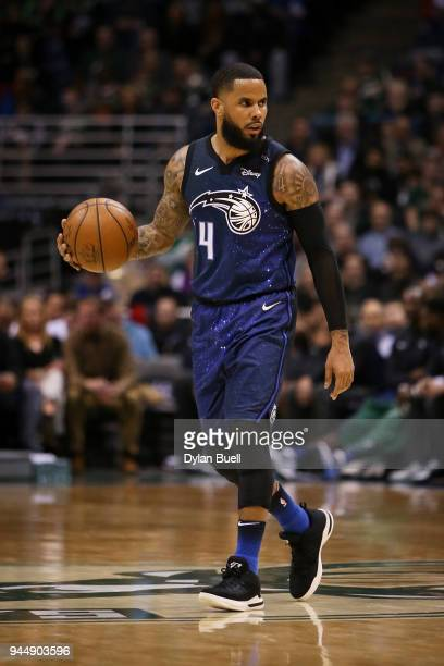 J Augustin of the Orlando Magic dribbles the ball in the third quarter against the Milwaukee Bucks at the Bradley Center on April 9 2018 in Milwaukee...