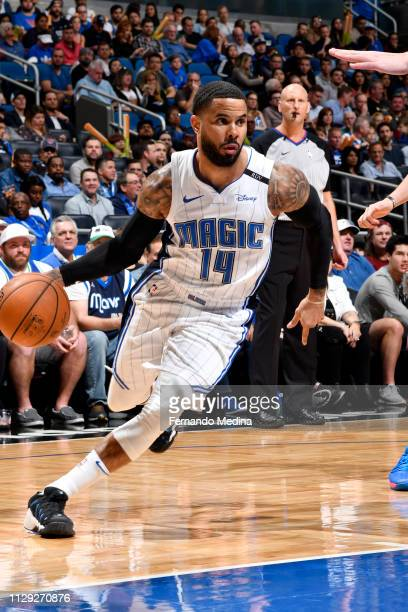 J Augustin of the Orlando Magic drives to the basket against the Dallas Mavericks on March 8 2019 at Amway Center in Orlando Florida NOTE TO USER...