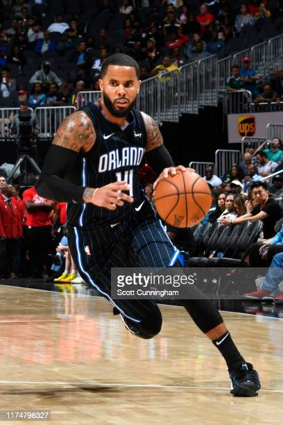 J Augustin of the Orlando Magic drives to the basket against the Atlanta Hawks during the preseason on October 9 2019 at State Farm Arena in Atlanta...