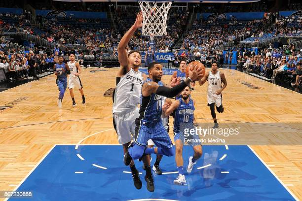 J Augustin of the Orlando Magic drives to the basket against the San Antonio Spurs on October 27 2017 at Amway Center in Orlando Florida NOTE TO USER...