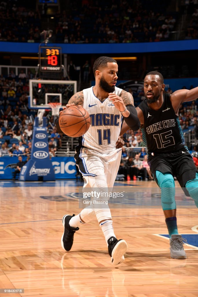 D.J. Augustin #14 of the Orlando Magic handles the ball against the Charlotte Hornets on February 14, 2018 at Amway Center in Orlando, Florida.