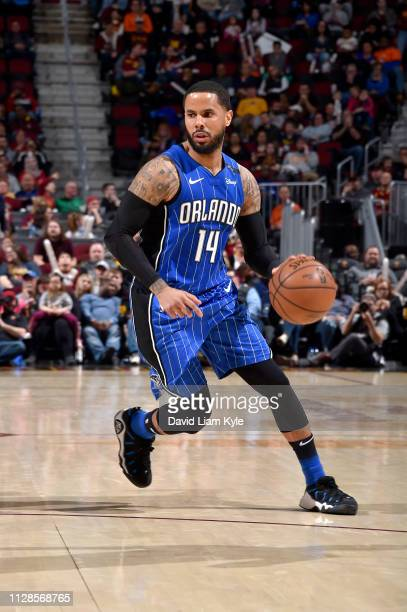 J Augustin of the Orlando Magic handles the ball against the Cleveland Cavaliers on March 3 2019 at Quicken Loans Arena in Cleveland Ohio NOTE TO...