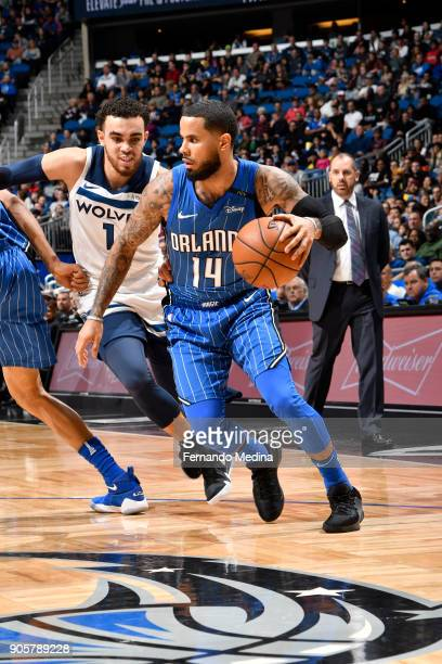J Augustin of the Orlando Magic handles the ball against the Minnesota Timberwolves on January 16 2018 at Amway Center in Orlando Florida NOTE TO...