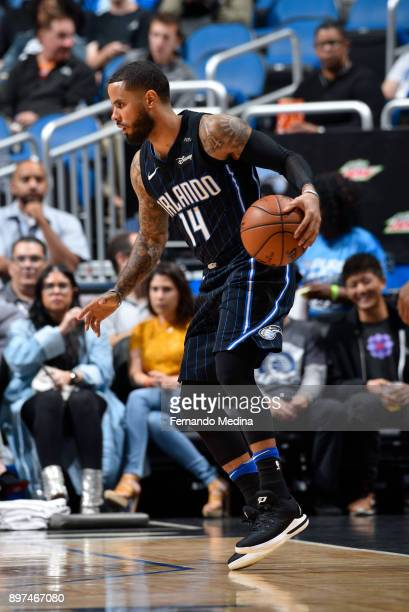 J Augustin of the Orlando Magic handles the ball against the New Orleans Pelicans on December 22 2017 at Amway Center in Orlando Florida Or NOTE TO...