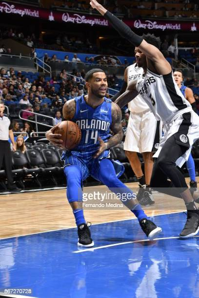 J Augustin of the Orlando Magic handles the ball against the San Antonio Spurs on October 27 2017 at Amway Center in Orlando Florida NOTE TO USER...