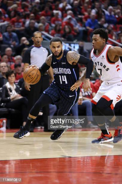 J Augustin of the Orlando Magic handles the ball against the Toronto Raptors during Game One of Round One of the 2019 NBA Playoffs on April 13 2019...