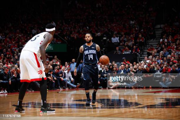 J Augustin of the Orlando Magic handles the ball against the Toronto Raptors during Game Two of Round One of the 2019 NBA Playoffs on April 16 2019...