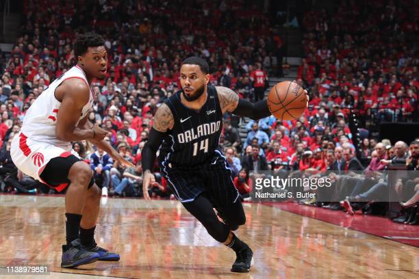 J Augustin of the Orlando Magic handles the ball against the Toronto Raptors during Game Five of Round One of the 2019 NBA Playoffs on April 23 2019...