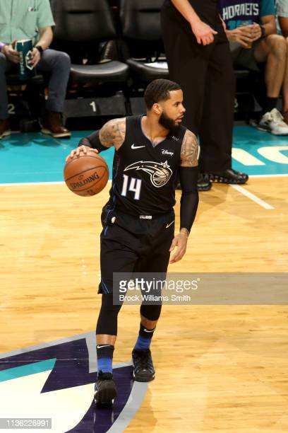 J Augustin of the Orlando Magic handles the ball during the game against the Charlotte Hornets on April 10 2019 at Spectrum Center in Charlotte North...