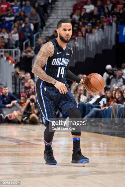 J Augustin of the Orlando Magic handles the ball during the game against the Cleveland Cavaliers on January 18 2018 at Quicken Loans Arena in...