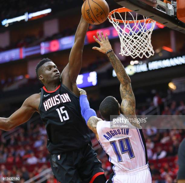 J Augustin of the Orlando Magic has his shot blocked by Clint Capela of the Houston Rockets at Toyota Center on January 30 2018 in Houston Texas NOTE...