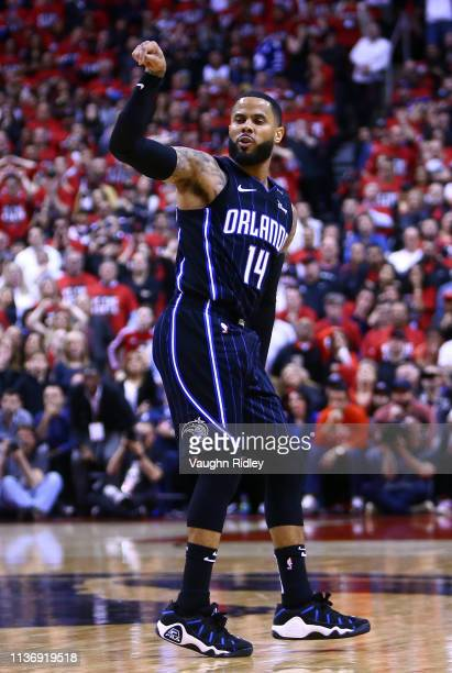 J Augustin of the Orlando Magic reacts after shooting the game winning shot during Game One of the first round of the NBA playoffs against the...
