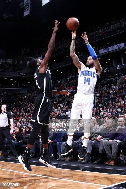 J Augustin of the Orlando Magic shoots the ball against the Brooklyn Nets on January 1 2018 at Barclays Center in Brooklyn New York NOTE TO USER User...