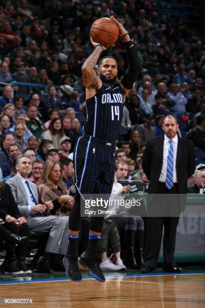 J Augustin of the Orlando Magic shoots the ball against the Milwaukee Bucks on January 10 2018 at the BMO Harris Bradley Center in Milwaukee...