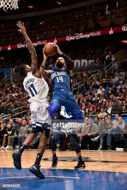 J Augustin of the Orlando Magic shoots the ball against the Minnesota Timberwolves on January 16 2018 at Amway Center in Orlando Florida NOTE TO USER...